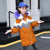 儿童棉服 女童韩版中长款棉服2019冬季新款女孩棉衣中大童时尚羽绒服棉袄外套
