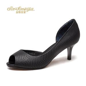 红蜻蜓旗下品牌金粉世女鞋女凉鞋高跟鞋JGB7018