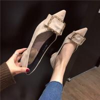 2019春季新款女鞋潮时尚水钻金属扣平跟鞋百搭尖头浅口低跟单鞋
