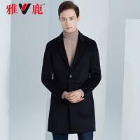 雅鹿双面呢大衣男士毛呢外套中长款2019秋冬装韩版羊毛呢子风衣潮