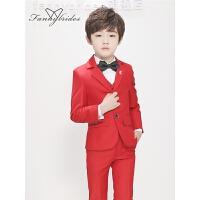 中大童男孩钢琴演出服韩版红色儿童西服男童小西装套装花童礼服