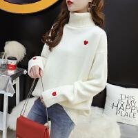 【火爆开抢】白色毛衣女套头宽松慵懒秋冬2020新款加厚网红洋气高领针织打底衫