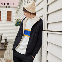 【2.7折价:90元】森马夹克男装冬季新款连帽仿羊羔绒休闲上衣男士青少年外套潮