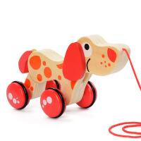 木制早教惯性拖拉车子一周岁宝宝推拉手拉绳小火车幼儿园益智玩具