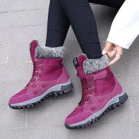 雪地靴女冬2018新款短靴加厚加绒高帮棉鞋滑大码靴子