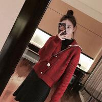 2019新款毛衣配裙子套装女秋冬装新款初恋短裙款收腰连衣裙法式少女裙 酒红色 两件套