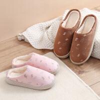 冬季拖鞋室内棉拖鞋防滑加厚耐磨闪电柔软保暖情侣棉托鞋女月子鞋