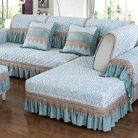 布艺沙发垫四季通用组合套装123三人u型欧式沙发套全包罩防滑 花暮-青色 100*240cm