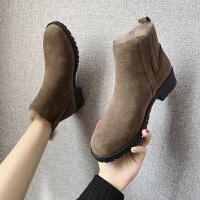 短靴女雪地棉靴舒适冬款帅气马丁靴女英伦风加绒粗跟及裸靴潮