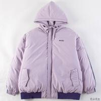 棉衣服2018新款女冬季粉色外套学生加厚宽松韩版棉袄短款 紫色