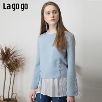 【清仓5折价224】Lagogo/拉谷谷2019春季新款宽松短款圆领长袖针织衫女IAMM931C49