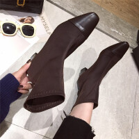 短靴女2018秋冬新款短靴踝靴时装靴韩版百搭瘦瘦靴单靴中跟短靴潮