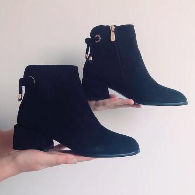 短靴女粗跟秋冬季2019新款加绒中跟单靴短筒马丁靴英伦风及裸靴  39 冬季时尚新款女鞋 男鞋