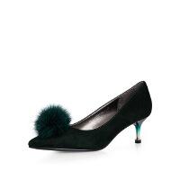 卡迪娜 秋季新款水貂毛女鞋尖头高跟鞋细跟性感浅口绒面单鞋 KL63025