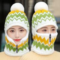 女士帽子秋冬季韩版保暖护耳针织毛线帽加绒加厚冬天骑车围脖一体