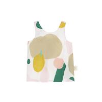 【秒杀价:80元】马拉丁童装女小童衬衫2020夏装新款可爱小清新水果图案无袖上衣
