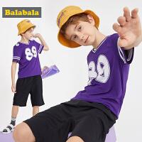 巴拉巴拉童装男童套装夏装新款儿童两件套潮中大童透气运动服
