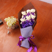 创意 生日礼品永生花 情人节礼物玫瑰花礼盒11朵香皂花束