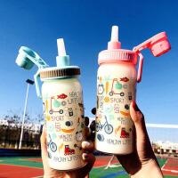 韩国可爱便携大容量吸管玻璃水杯带刻度耐热密封牛奶喝水茶杯