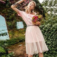 【裂帛过年不打烊!跨年价:94元】裂帛2019夏装新款圆领短袖甜美少女针织连衣裙网纱半裙套装女