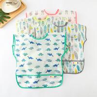 夏季薄款单层系带式儿童吃饭罩衣防水宝宝围兜免洗无袖背心式饭兜
