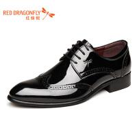 红蜻蜓男鞋春秋新款布洛克皮鞋时尚真皮皮鞋商务正装皮鞋男鞋