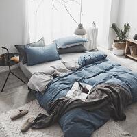 水洗棉四件套简约纯棉全棉1.8m床单被子被套床上三件套床笠定制