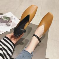 单鞋女鞋2019春季新款时尚方头浅口一字带女鞋气质百搭休闲女鞋