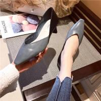 单鞋女2019春款尖头浅口低跟拼色高跟鞋气质显瘦性感职业粗跟女鞋
