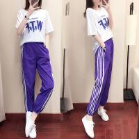 2019春夏新款运动套装女宽松韩版时尚服休闲两件套气质潮夏天 白色T+紫色裤子套装