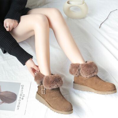 雪地靴2018秋冬新款女士短靴加绒加厚保暖女款靴子女搭扣毛毛鞋