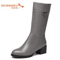 红蜻蜓真皮中筒女靴冬季新款官方休闲正品粗跟棉靴女鞋