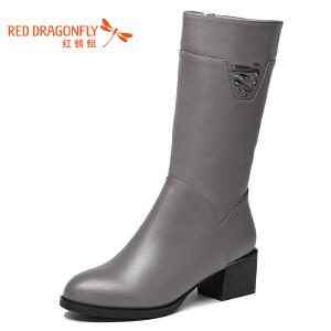 红蜻蜓真皮中筒女靴冬季新款官方休闲正品粗跟棉靴女鞋WFC6215