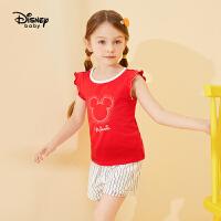 超品日【5.8号抢购价:39】迪士尼童装女童夏款新款梦幻童年女童针织时尚背心套装