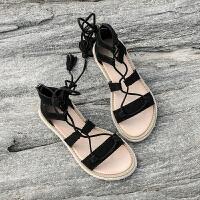 罗马凉鞋女风夏季平底19新款韩版绑带凉鞋海边女度假