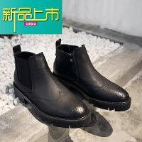 新品上市靴男英伦风高帮皮鞋男韩版潮流百搭雕花马丁靴男短靴