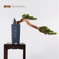 新中式现代仿真迎客松盆景绿植松树摆件售楼处样板房酒店软装饰品
