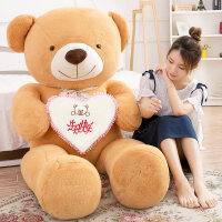 熊毛绒玩具送女友泰迪熊公仔娃娃抱抱熊玩偶女孩睡觉抱生日抱枕萌 棕色 生日快乐 平躺量80厘米