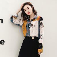 复古港味衬衣女士2020新款洋气韩版宽松印花衬衫女设计感小众上衣