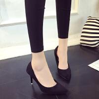 职业高跟鞋女黑色3-5-7-9厘米浅口韩版中跟磨砂尖头工作鞋单根女