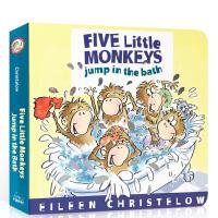 顺丰发货 Five Little Monkeys Jump in the Bath 五只小猴子洗澡跳来跳去纸板书 英文