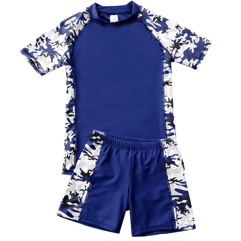 儿童泳衣男童中大童分体游泳衣男孩青少年泳装套装 青少年新款 活泼运动迷彩