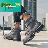 新品上市春季韩版潮流男高帮英伦风中帮工装鞋子19新款短靴复古马丁靴男