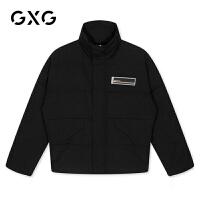 GXG男�b 冬季男士�n版���獗E�防�L�B帽黑色短款羽�q服男
