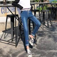 春夏新款大码学生松紧腰牛仔裤女外穿修身显瘦小脚裤铅笔长裤