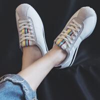 BANGDE超火原宿休闲运动鞋女韩版秋季学生平底白色百搭小白鞋 白黑 防水皮面