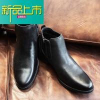新品上市冬季马丁靴男士潮加绒真皮英伦内增高帮鞋中帮靴尖头短靴子