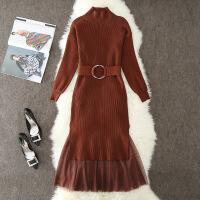 2019新款秋冬季女装新款中长款时髦网红女神两件套装裙加厚连衣裙