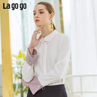 Lagogo/拉谷谷2019年春季新款女时尚简约文艺范衬衫IACC431C18