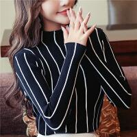 打底衫女黑色打底衫女长袖2019秋装新款针织衫韩版半高领条纹紧身上衣套头 均码